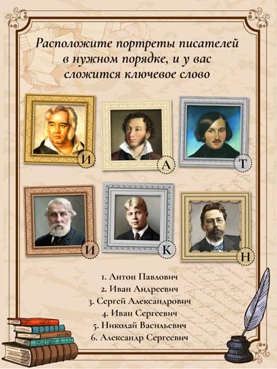 Задание Портреты писателей для литературной игры